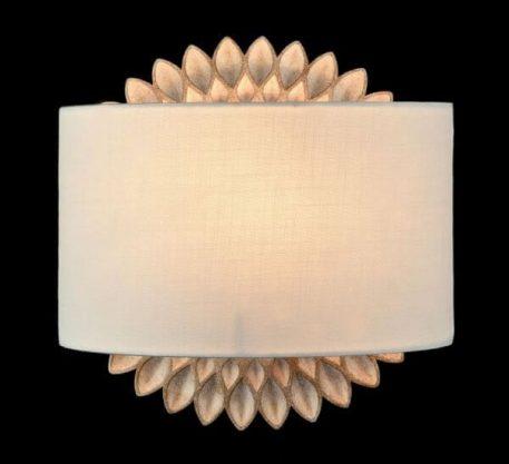 Lampa nowoczesna - biała tkanina, metal w odcieniach złota i beżu - Maytoni