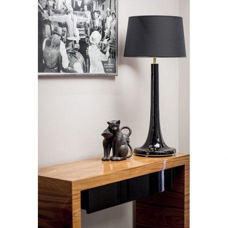 Lampa nowoczesna - czarne szkło, biały abażur - 4concepts