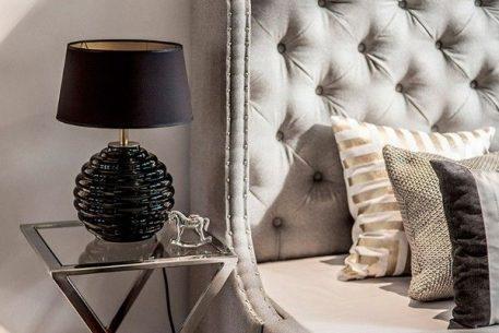 Lampa nowoczesna - czarne szkło, czarny abażur ze złotym wnętrzem - 4concepts
