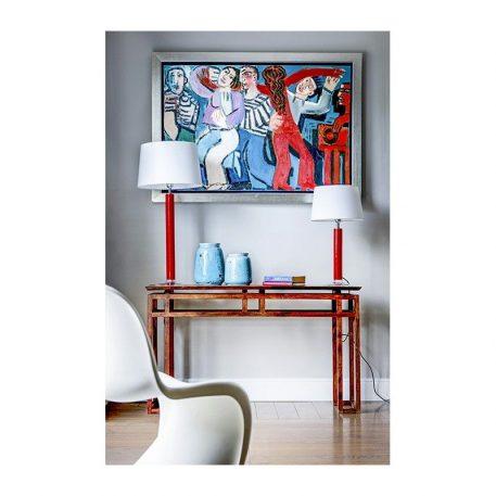 Lampa nowoczesna - czerwone szkło, czarny abażur biały w środku - 4concepts