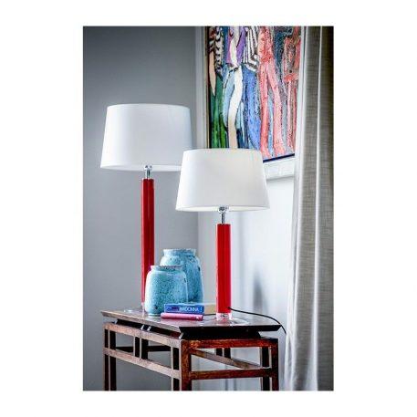 Lampa nowoczesna - czerwone szkło, czarny abażur złoty w środku - 4concepts