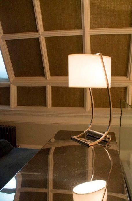 Lampa nowoczesna - mosiądz, biały abażur - Ardant Decor