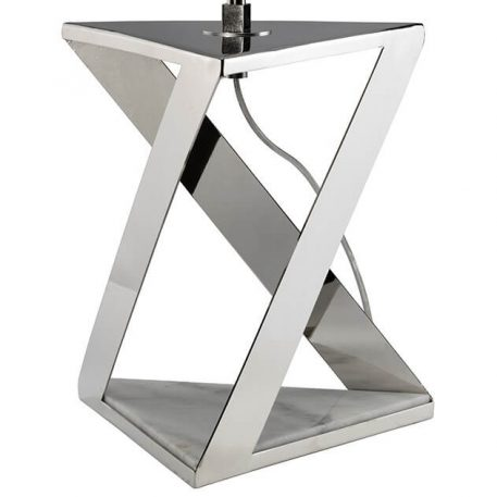 Lampa nowoczesna - polerowany nikiel, biały marmur w podstawie, szara tkanina - Ardant Decor