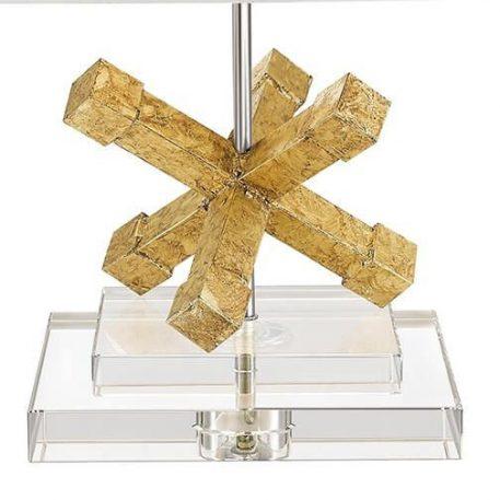 Lampa nowoczesna - postarzany złoty, chrom, biała tkanina, szkło - Ardant Decor