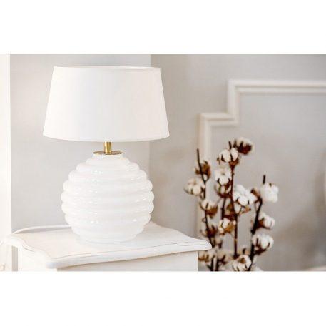 Lampa nowoczesna - szkło malowane na biało, biała tkanina - 4concepts