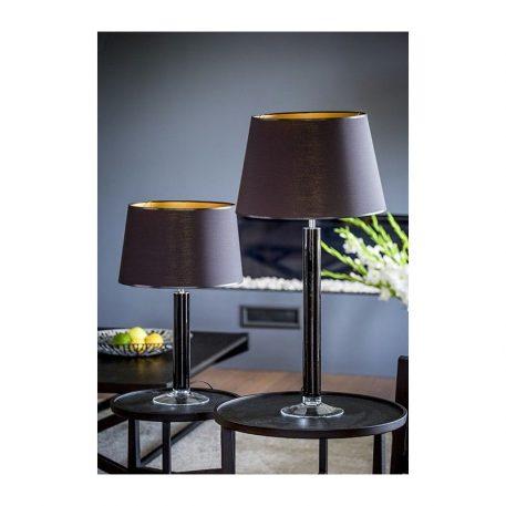 Lampa nowoczesna - transparentne szkło, czarny abażur biały w środku - 4concepts