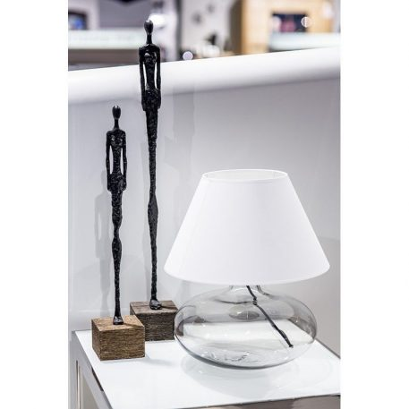 Lampa nowoczesna - transparentne szkło, czarny abażur złoty w środku - 4concepts