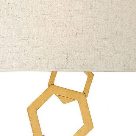 Lampa nowoczesna Z abażurem beżowy, złoty  - Sypialnia