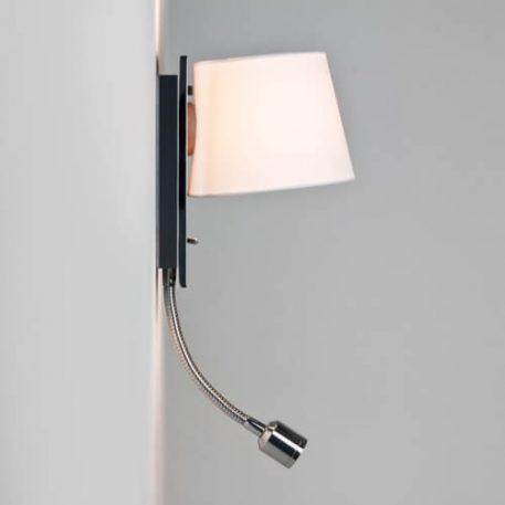 Lampa nowoczesna Z abażurem biały, srebrny  - Sypialnia