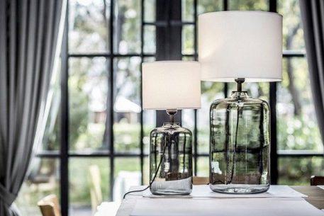 Lampa skandynawska - biały abażur, barwione szkło - 4concepts