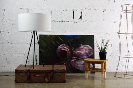 Lampa skandynawska - biały abażur, czarna podstawa - Gie El Home