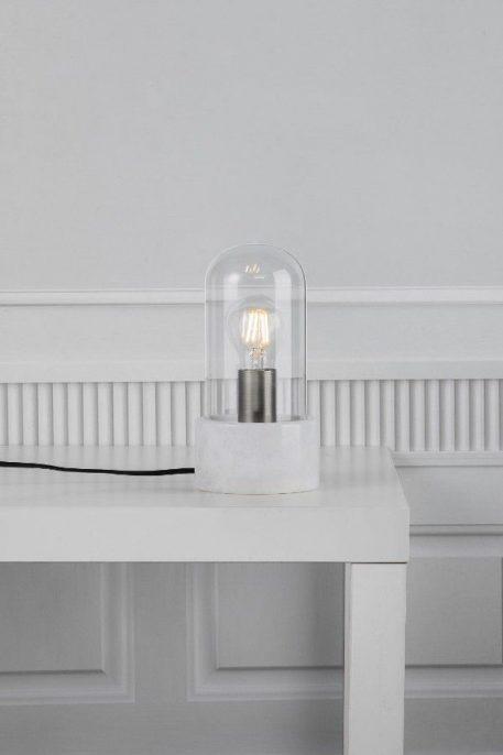 Lampa skandynawska Styl nowoczesny biały, transparentny  - Sypialnia