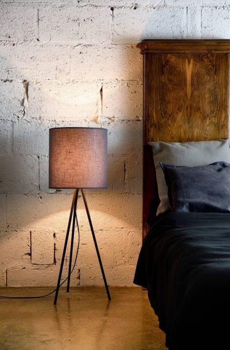 Lampa skandynawska - szary abażur, czarna podstawa - Gie El Home