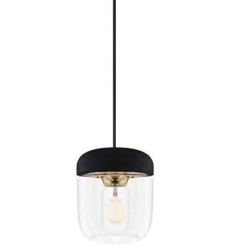 Lampa skandynawska szklane mosiądz, transparentny, Czarny  - Sypialnia