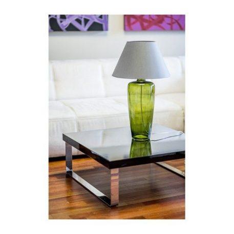 Lampa stołowa - barwione szkło, szaro-beżowy abażur - 4concepts