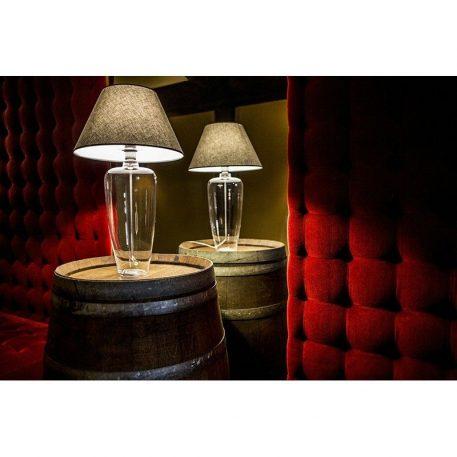 Lampa stołowa - barwione szkło, szary abażur biały w środku - 4concepts