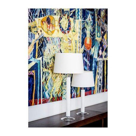 Lampa stołowa - białe szkło, biały abażur - 4concepts