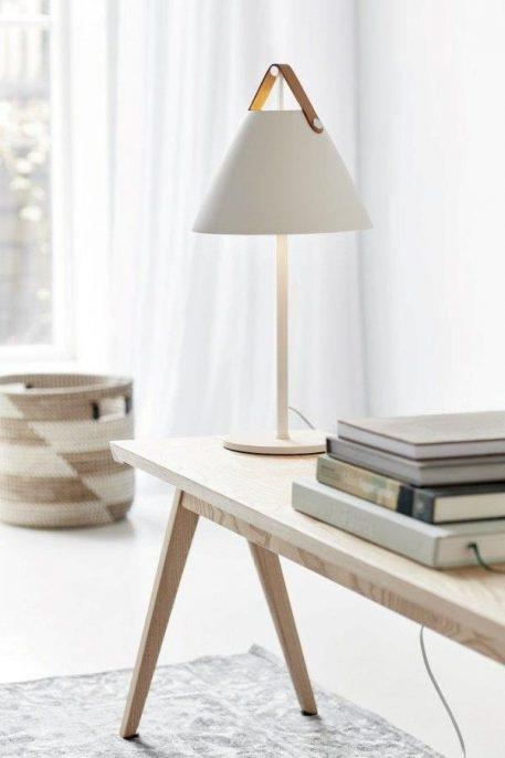 Lampa stołowa - biały metal, skórzany pasek - Nordlux