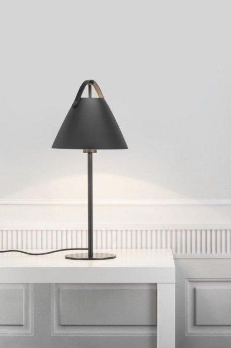 Lampa stołowa - czarny metal, skórzany pasek - Nordlux