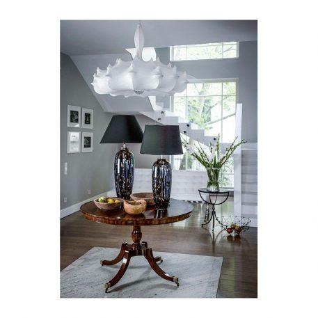 Lampa stołowa - dwukolorowe szkło, czarny abażur złoty w środku - 4concepts