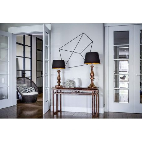 Lampa stołowa - miedziane szkło, biała tkanina - 4concepts