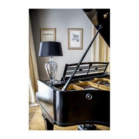 Lampa stołowa - miedziane szkło, czarny abażur biały w środku - 4concepts