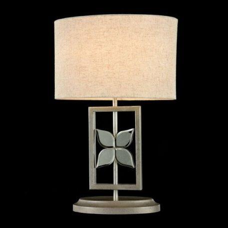 Lampa stołowa - nikiel, szkło, kremowa tkanina - Maytoni