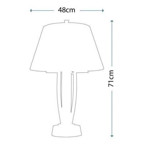 Lampa stołowa - polerowany nikiel, biała tkanina - Ardant Decor