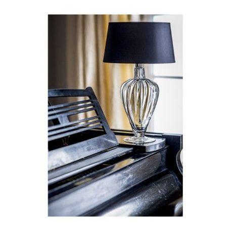 Lampa stołowa - szare szkło, czarny abażur złoty w środku - 4concepts