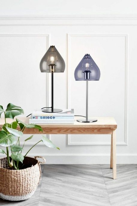 Lampa stołowa - szare szkło, metal - Nordlux