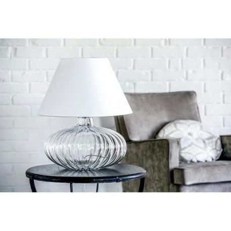 Lampa stołowa - szkło, biały abażur - 4concepts