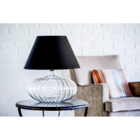 Lampa stołowa - szkło, ciemnoszary abażur biały w środku - 4concepts
