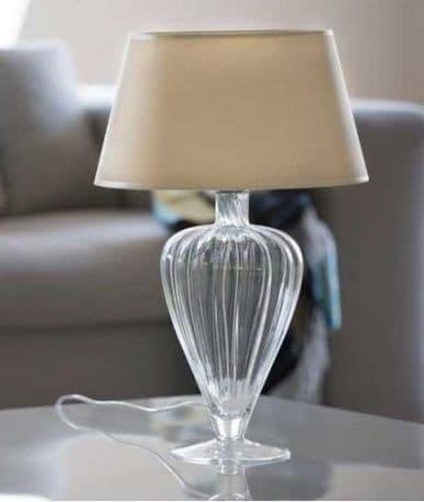 Lampa stołowa - szkło, szaro-beżowy abażur - 4concepts