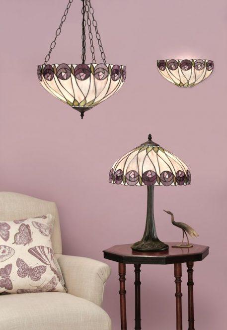 Lampa stołowa - szkło Tiffany, ciemnobrązowe tworzywo - Interiors