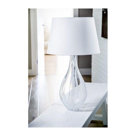 Lampa stołowa - transparentne, białe szkło, biała tkanina - 4concepts