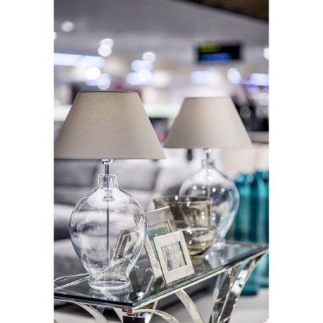 Lampa stołowa - transparentne szkło, szaro-beżowy abażur - 4concepts