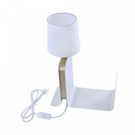 Lampa stołowa Z abażurem biały  - Sypialnia