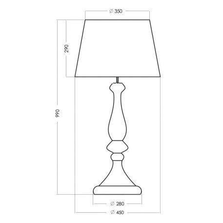 Lampa stołowa Z abażurem połysk, transparentny, Czarny, Szary  - Sypialnia