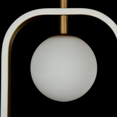 Lampa wisząca - biały i złoty metal, mleczne szkło - Maytoni