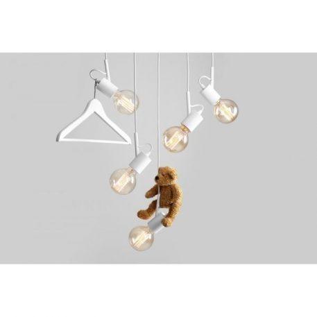 Lampa wisząca - biały metal - Aldex