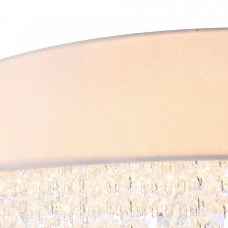 Lampa wisząca - biały metal, biała tkaniana, kryształki - Maytoni