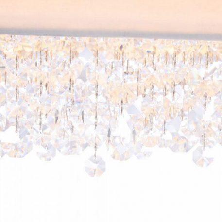 Lampa wisząca - biały metal, biała tkanina, kryształki - Maytoni