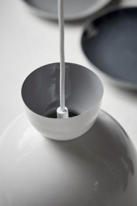 Lampa wisząca - biały metal, biały przewód w tekstylnym oplocie - Nordlux