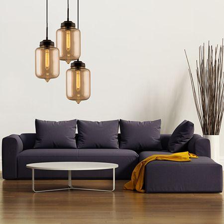 Lampa wisząca - bursztynowe szkło - Altavola