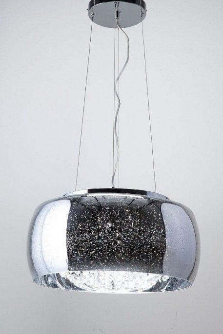 Lampa wisząca - chrom, barwione szkło, kryształki - Auhilon