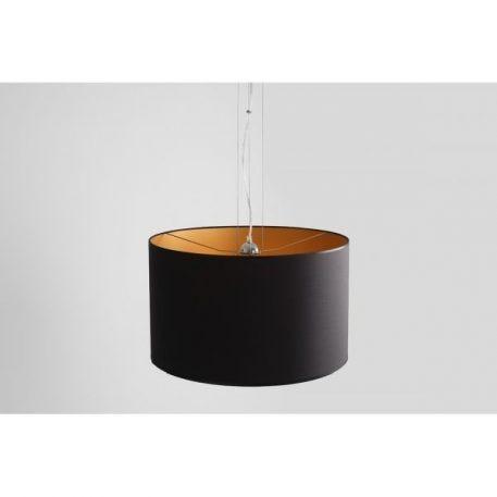 Lampa wisząca - chrom, czarny abażur złoty w środku - Aldex