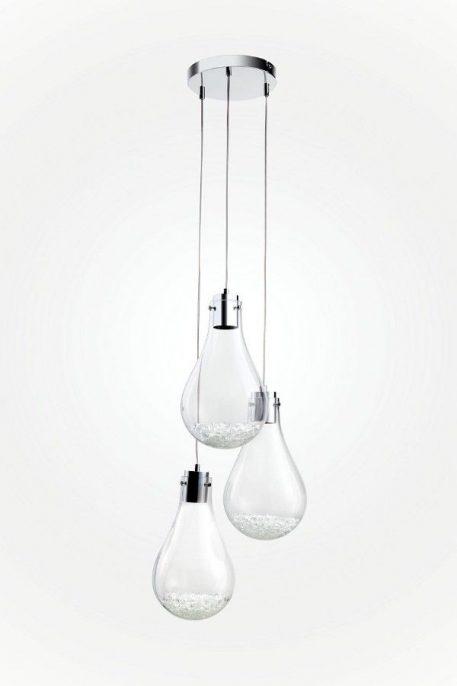 Lampa wisząca - chrom, szkło - Auhilon