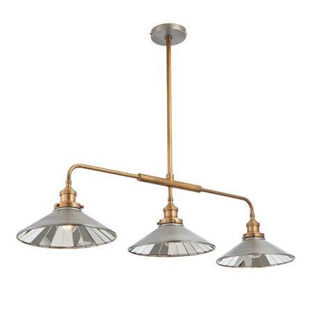 Lampa wisząca - cyna, antyczny mosiądz, lustrzane płytki - Endon