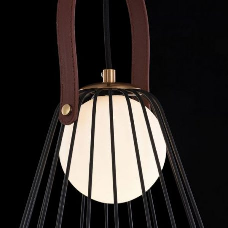 Lampa wisząca - czarny i złoty metal, mleczne szkło, skórzany pasek - Maytoni