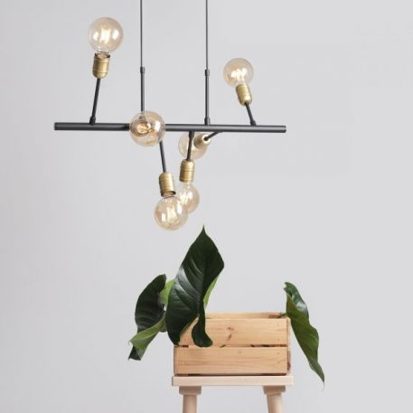 Lampa wisząca - czarny, złoty metal - Aldex